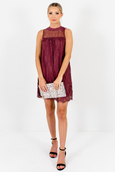 Purple Lace Cute and Comfortable Boutique Mini Dresses for Women