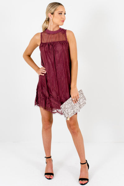 Women's Purple High-Quality Semi-Sheer Boutique Mini Dress