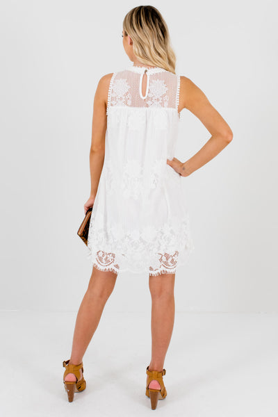 Women's White Keyhole Back Style Boutique Lace Mini Dress