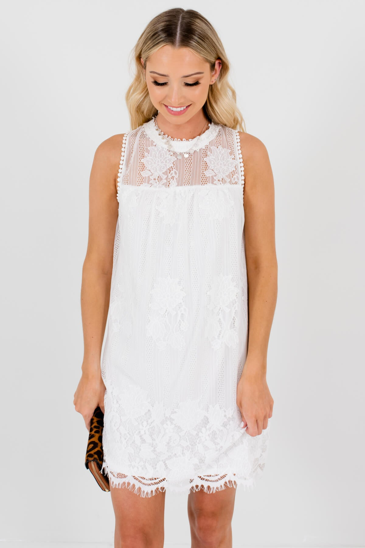 White Lace Overlay Boutique Mini Dresses for Women