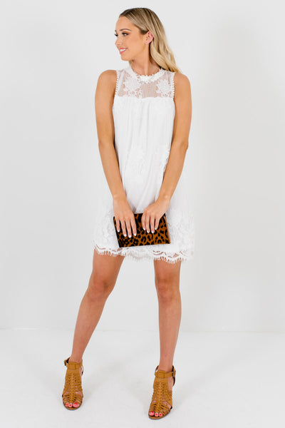 White Lace Cute and Comfortable Boutique Mini Dresses for Women