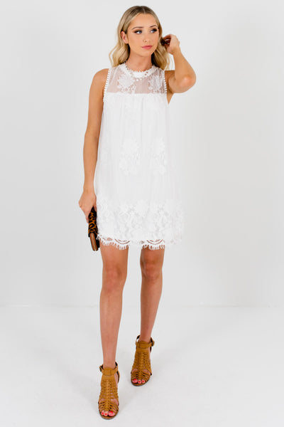 White Lace Special Occasion Lace Boutique Mini Dresses for Women
