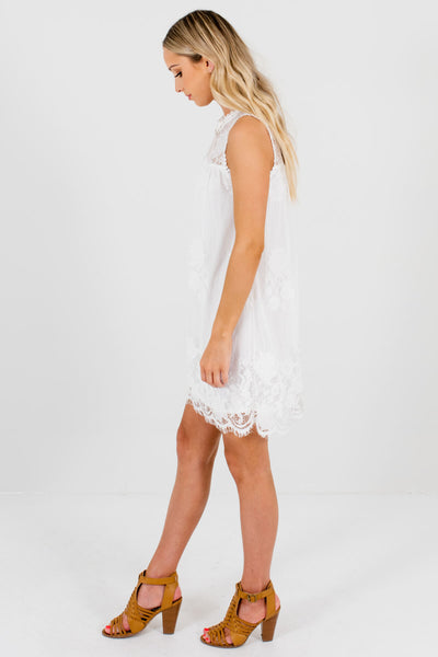 Women's White High-Quality Semi-Sheer Boutique Mini Dress