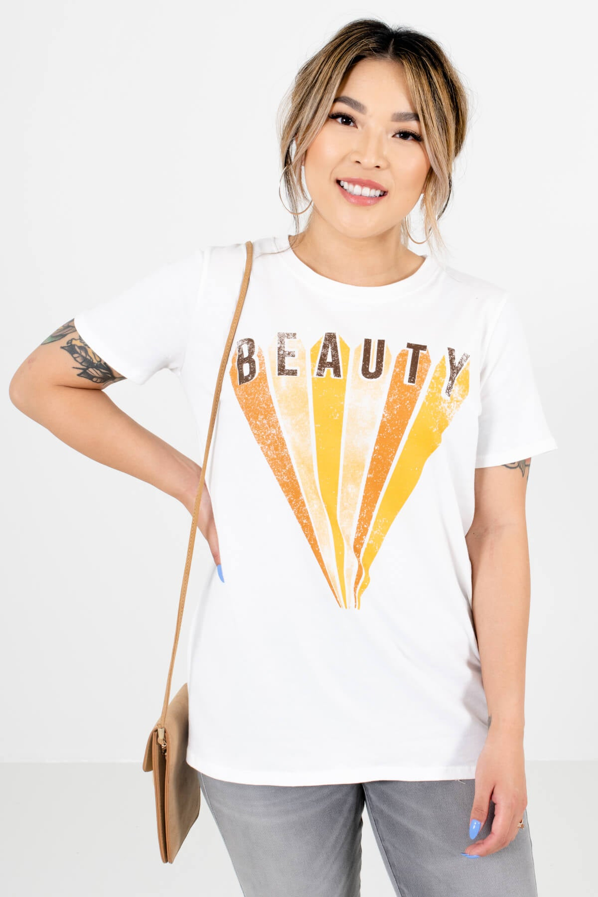 White Multicolored Boutique Graphic T-Shirts for Women