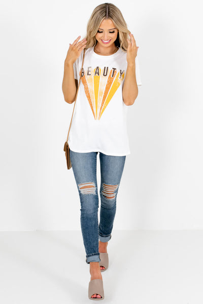 White Cute and Comfortable Boutique Graphic T-Shirts for Women
