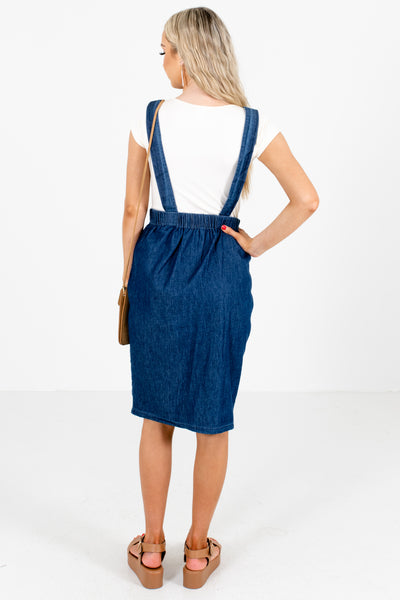 Women's Blue Button-Up Skirt Boutique Knee-Length Dress