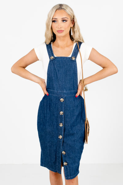 Blue Overall Style Boutique Knee-Length Dresses for Women