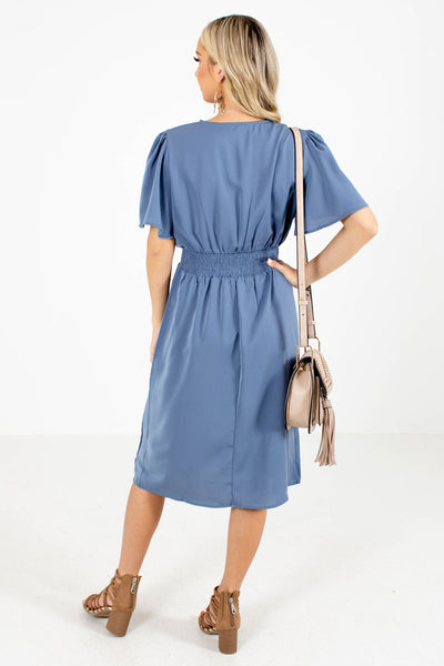 Women's Blue Smocked Waistband Boutique Knee-Length Dress