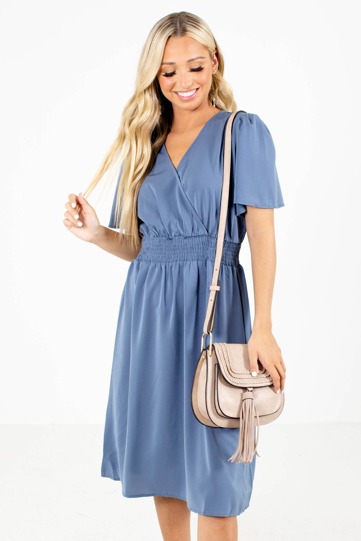 Blue Faux Wrap Bodice Boutique Knee-Length Dresses for Women