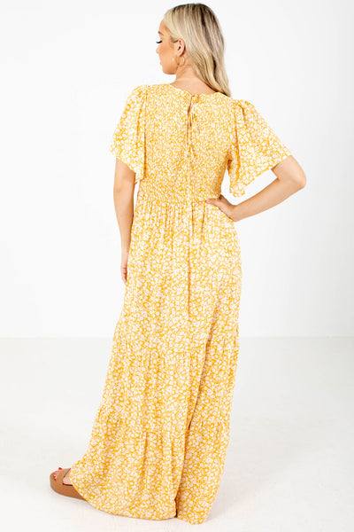 Women's Yellow Smocked Bodice Boutique Maxi Dress