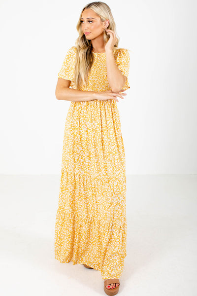Yellow Self-Tie Back Accent Boutique Maxi Dresses for Women
