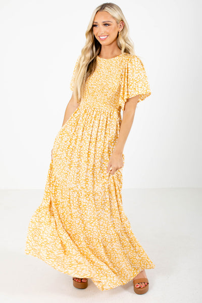 Women's Yellow Flowy Silhouette Boutique Maxi Dress