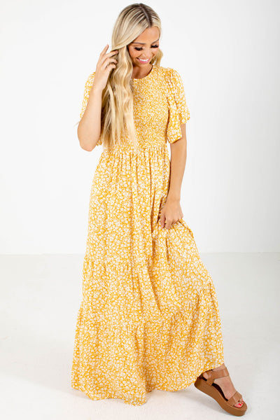 Yellow and White Floral Patterned Boutique Maxi Dresses for Women