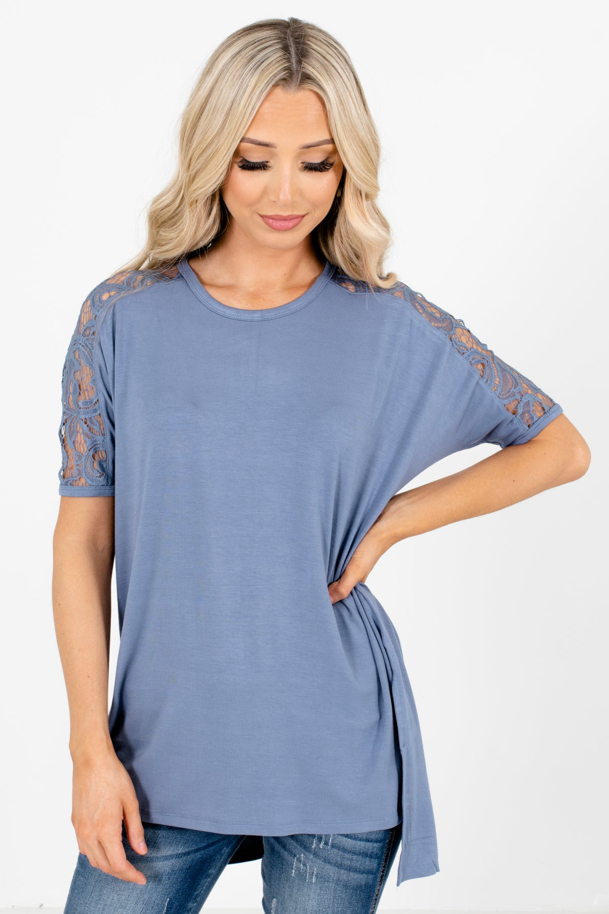 Blue Lace Detailed Boutique Tops for Women