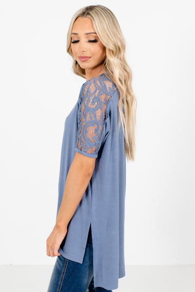 Women's Blue Round Neckline Boutique Tops