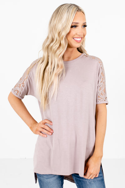 Brown Split High-Low Hem Boutique Tops for Women