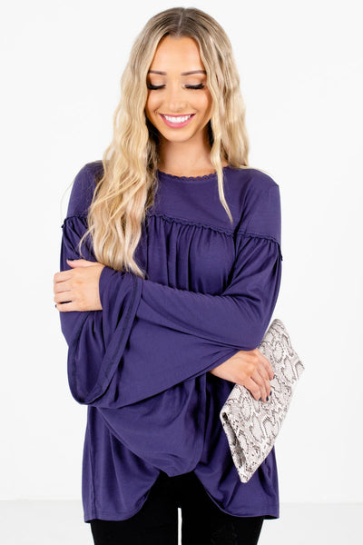 Women's Purple Pleated Boutique Tops