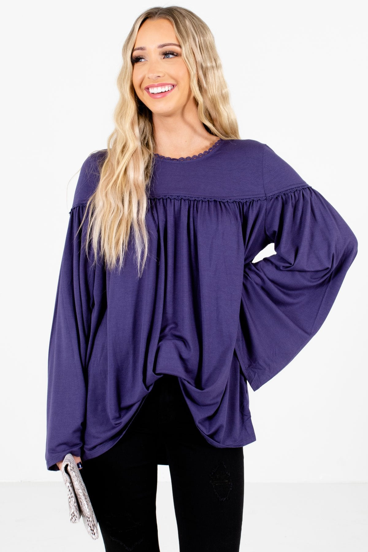 Purple Bohemian Peasant Style Boutique Tops for Women