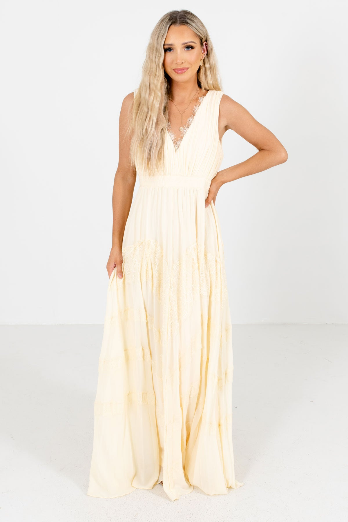 Cream V-Neckline Boutique Maxi Dresses for Women