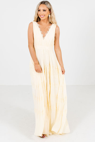 Cream Cute and Comfortable Boutique Maxi Dresses for Women