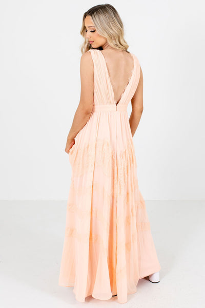 Women's Peach Pink Back Zipper Boutique Maxi Dresses
