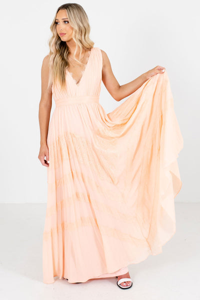 Peach Pink V-Neckline Boutique Maxi Dresses for Women