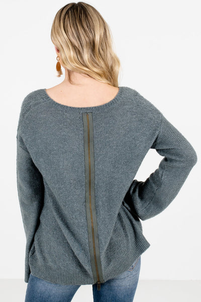 Women's Green Zip-Up Back Boutique Sweater