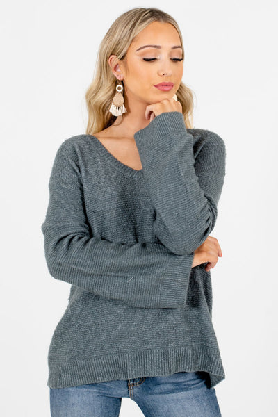 Women's Green V-Neckline Boutique Sweaters