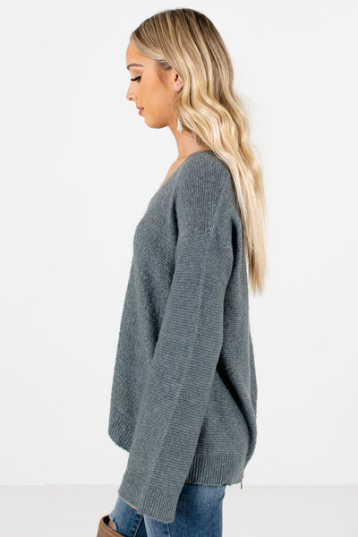 Green Long Sleeve Ribbed Material Boutique Sweaters for Women