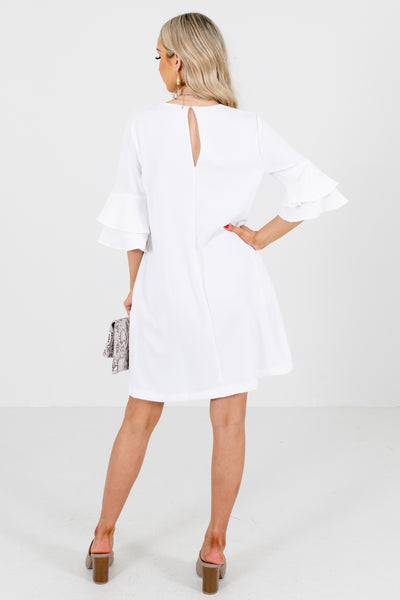 Women's White Keyhole Back Boutique Mini Dress