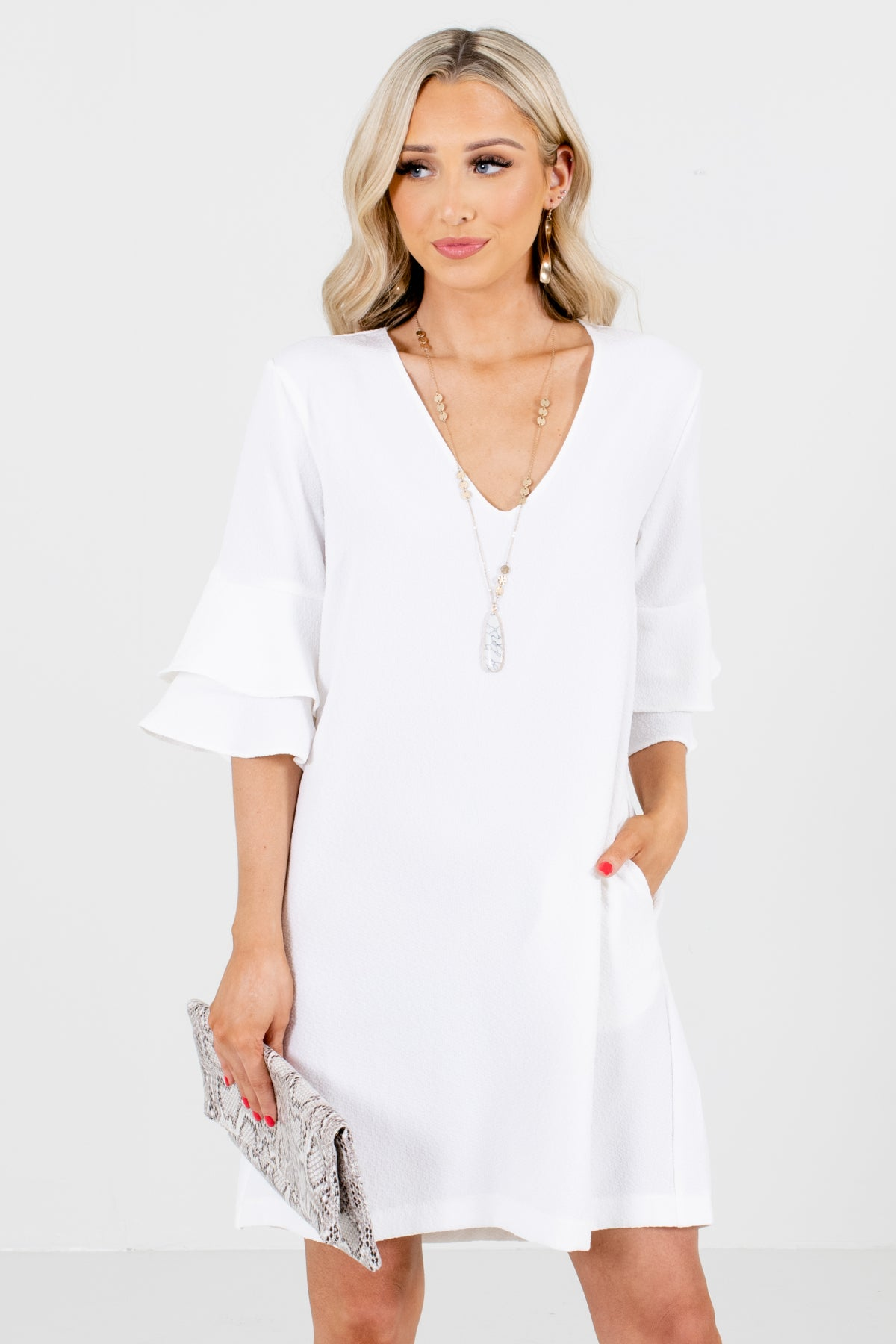 White Ruffle Sleeve Boutique Mini Dresses for Women