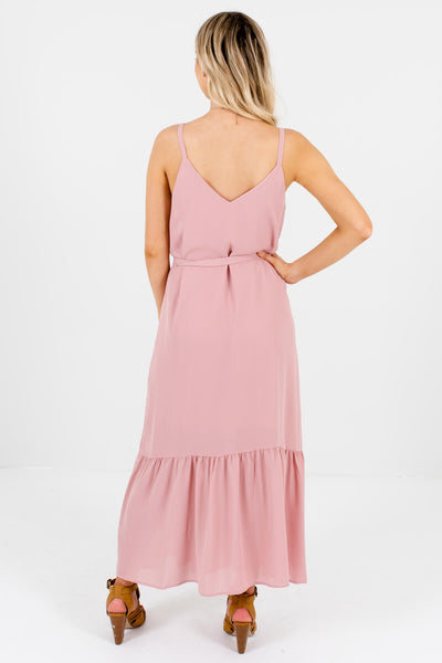 Women's Light Pink Waist Tie Detail Boutique Maxi Dress