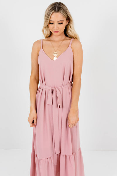 Women's Light Pink V-Neckline Boutique Maxi Dress