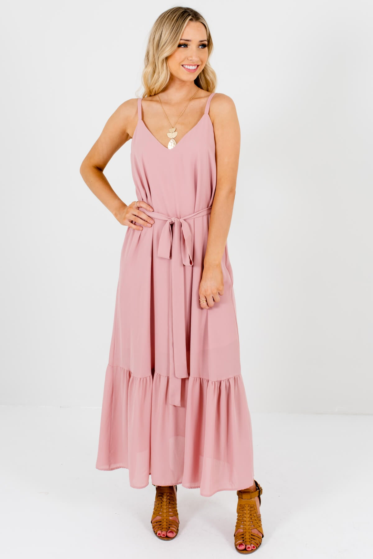 Light Pink Ruffled Hem Boutique Maxi Dresses for Women