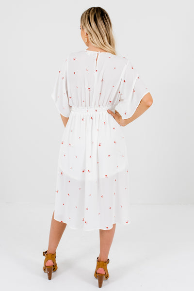 White Floral Tie-Front Button-Up Midi Dresses Affordable Boutique