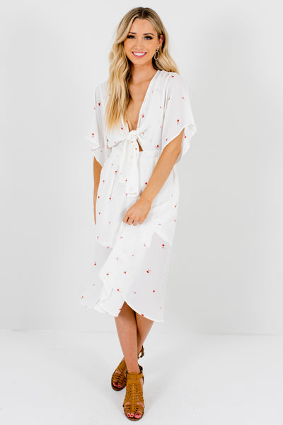 White Floral Tie-Front Cutout Detail Button-Up Boutique Midi Dresses