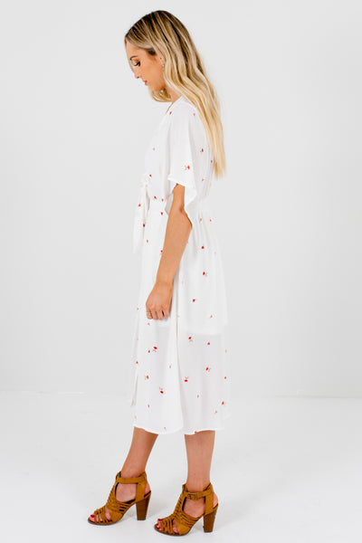 White Pink Floral Tie-Front Midi Dresses Affordable Online Boutique