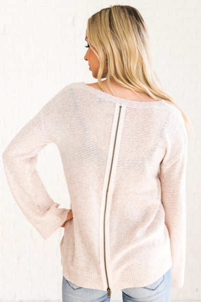 Women's Beige Brown Zip-Up Back Boutique Sweater