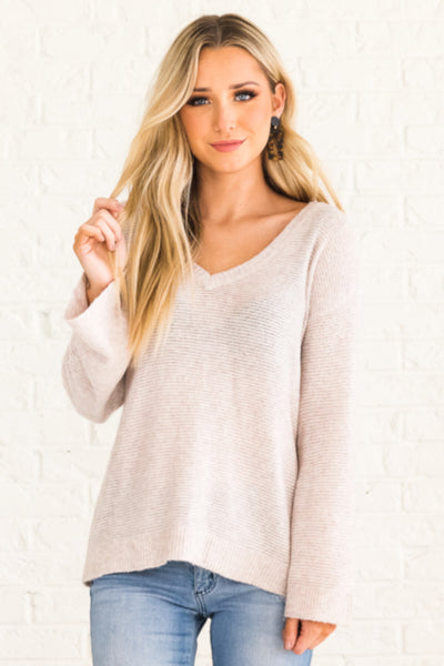 Beige Brown Boutique Lightweight Sweaters for Women