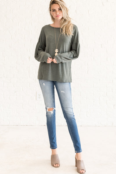 Dark Sage Green Affordable Online Boutique Clothing for Women