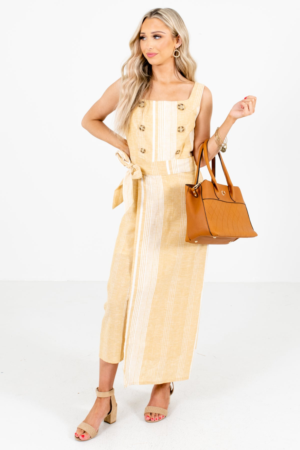 Yellow and White Striped Boutique Maxi Dresses for Women