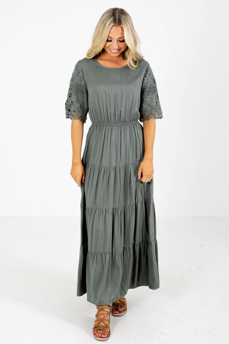 Beneath the Pines Green Tiered Maxi Dress
