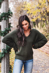 Dark Green Oversized High-Low Hem Boutique Sweaters for Women