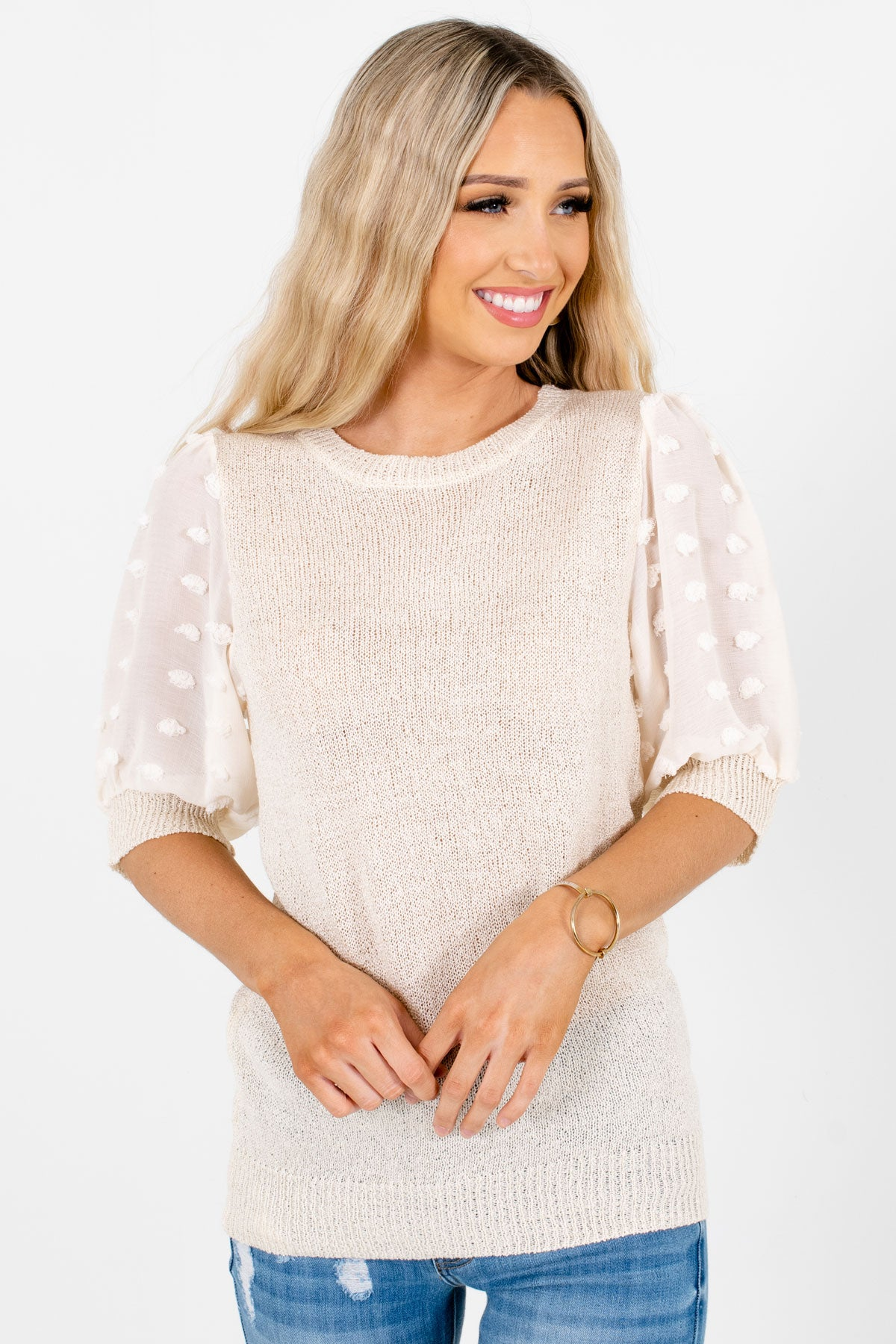Cream Polka Dot Textured Sleeve Boutique Tops for Women