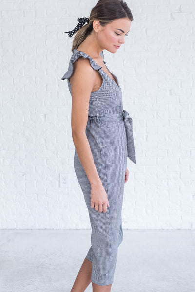 Black Cute Cropped Jumpsuits for Women