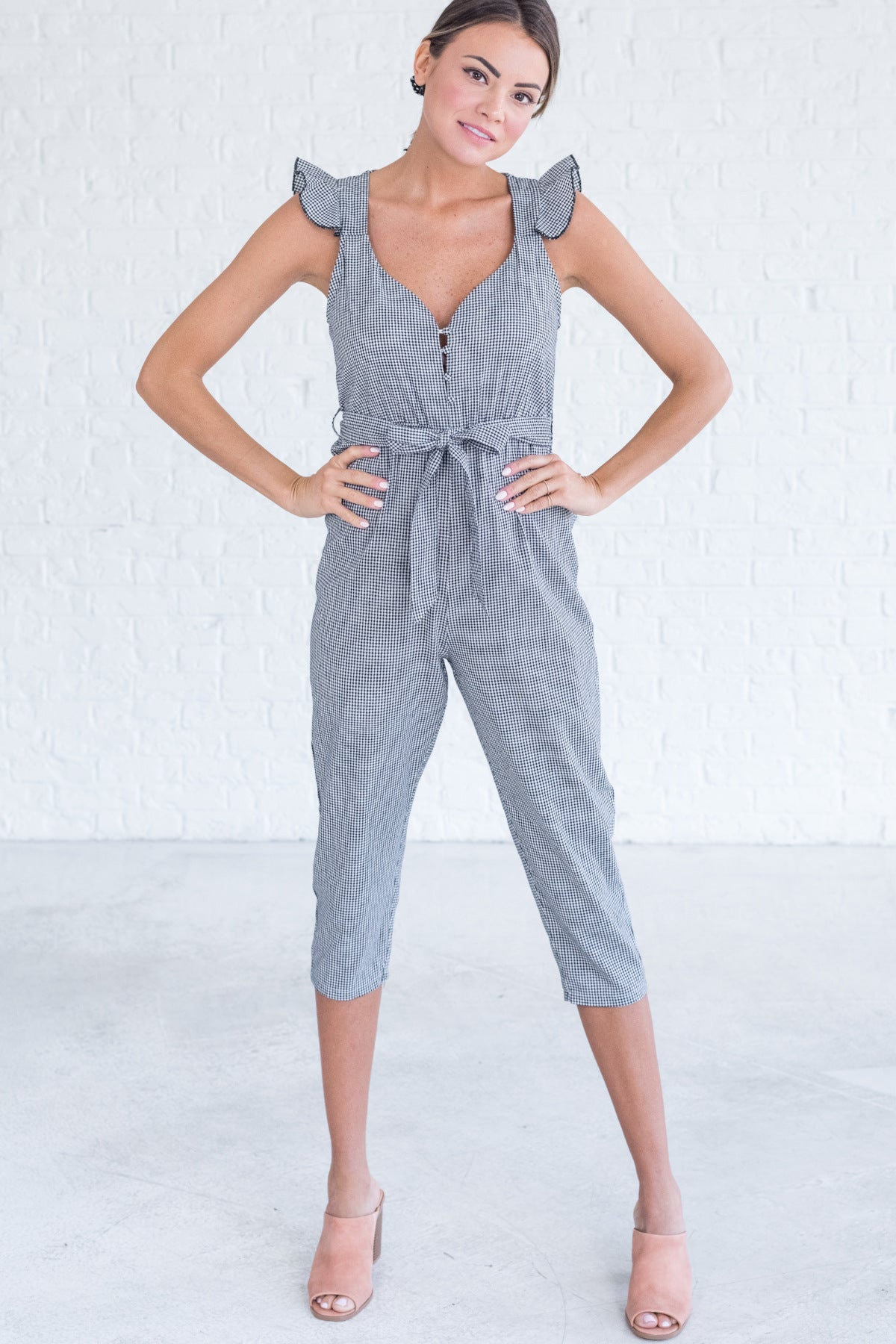 Black Gingham Jumpsuits for Women