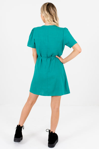 Kelly Green Faux Wrap Button-Up Mini Dresses with Floral Buttons