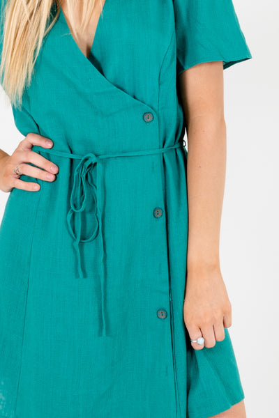 Kelly Green Floral Button-Up Boutique Wrap Mini Dresses