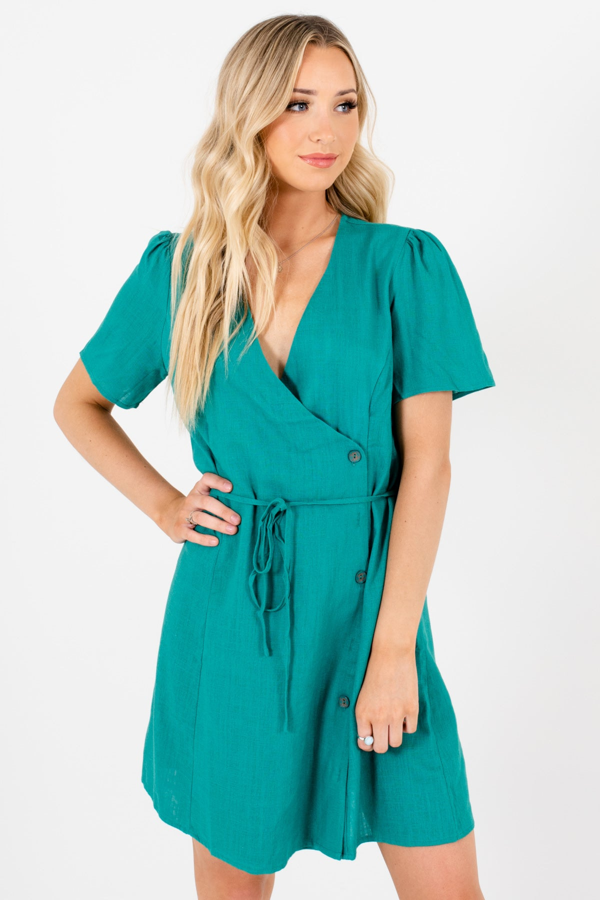 Kelly Green Faux Wrap Button-Up Mini Dresses Affordable Online Boutique