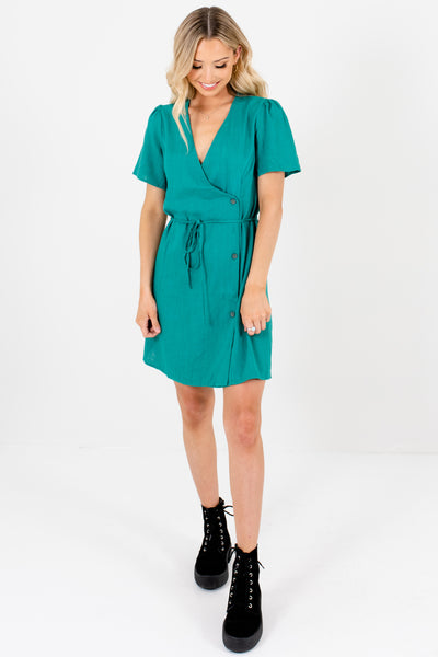 Kelly Green Button-Up Faux Wrap Mini Dresses Affordable Online Boutique